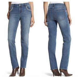 CHICO'S Platinum Pocket Trim Bling Boyfriend Jeans